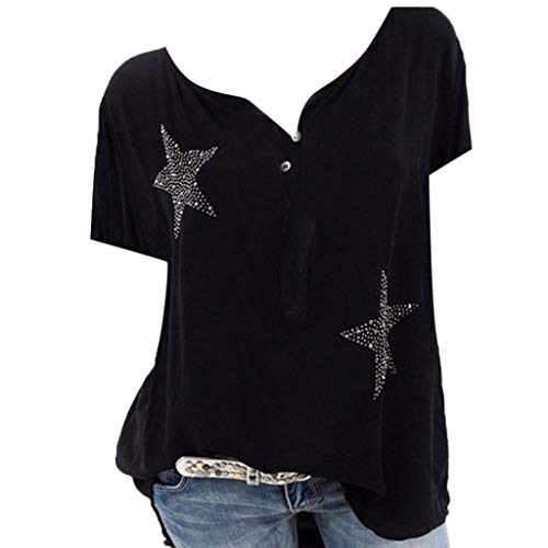 CCOOfhhc Women's Summer 3/4 Sleeve Sexy V Neck Star Printed T-Shirts Button Up Chiffon Blouses Tunic Top Black ()
