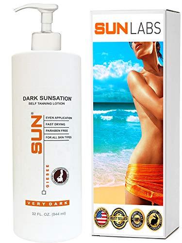 Sun Laboratories_Sunless Tanning Lotion Dark Sunsation (Very Dark) 32 oz. Value SizeSelf Tanner - Natural Sunless Tanning Lotion, Body and Face - Very Dark Sunless Bronzer (Packaging May Very)