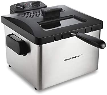 Hamilton Beach Professional Grade Electric Deep Fryer, 19 Cups / 4.5 Liters Oil Capacity, XL Frying Basket, Lid with View Window, 1800 Watts, Stainless Steel (35035)