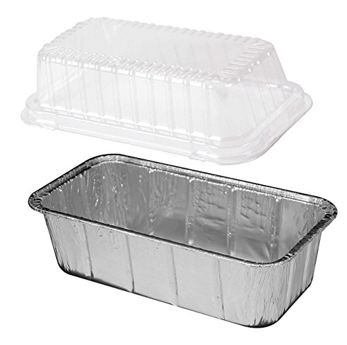 Multi Pack of Disposable Aluminum Foil loaf Bread Pans 2-Lb Capacity | Superior Heat Conductivity for Evenly Baked Cakes, Breads, Meatloaf and quiche - Standard Size -WITH PLASTIC DOME LIDS- 25-Pack