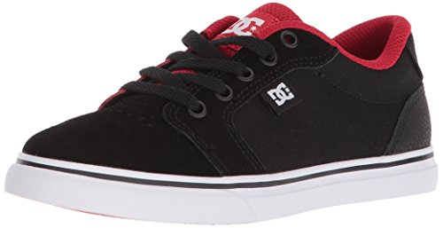 DC Youth Anvil Skate Shoe, Black/Red, 1.5 M M US Little Kid