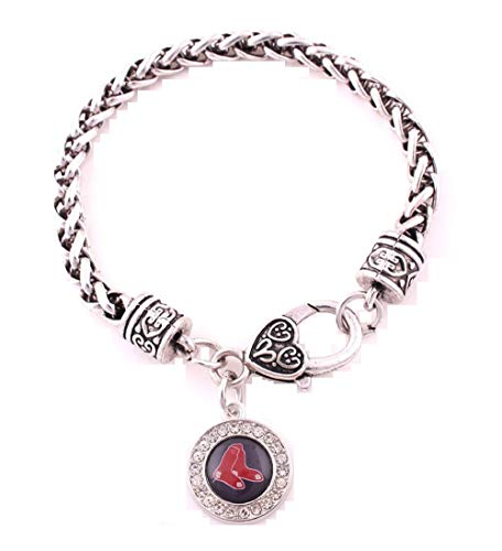 (Boston Red Sox Zinc Alloy Bracelet with Round Rhinestone Red Sox Charm 7 inch)