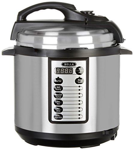 BELLA 6 Quart 10-In-1 Multi-Use Programmable Pressure Cooker, Slow Cooker, Rice Cooker, Steamer, Sauté Warmer with Searing & Browning Feature, 1000 Watts (14467)