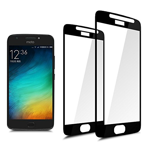 [2-Pack] Full Coverage Tempered Glass Screen Protector for Motorola Moto E4,E(4th Generation) 2017 with Lifetime Replacement Warranty[Black]