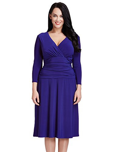 LookbookStore-Womens-Plus-Size-Blue-V-Neck-34-Sleeve-Ruched-Waist-Skater-Dress