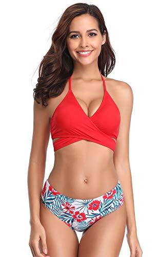 SHEKINI Women's Push-up Halter Bandage Ruched High Waisted Bottoms Bikini Swimsuits (Rose Red - A, X-Large) ()