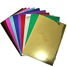 """longshine-us 10 Sheets 8"""" x 12"""" Soft Touch Metallic Mirror Cardstock Premium Card Sparkling Assorted Mixed Colors Craft Glitter Cardstock Cardmaker DIY Gift (mixedcolor)"""