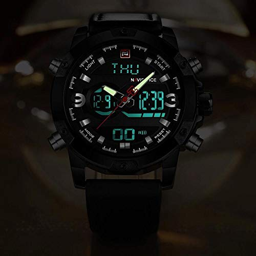 7aa182689ee Relógio Masculino Naviforce Esporte de Quartz Led Digital Militar  Resistente à Água - Dourado