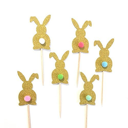 12 pcs Bunny Pompom Tail Cupcake Topper Gold Glitter for Birthday Baby Shower Baby Girl Boy Some Bunny is One theme