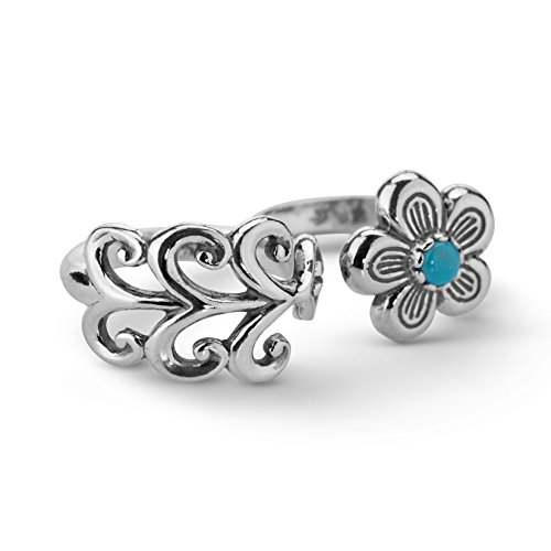 Sterling Silver Turquoise Double Finger Flower Ring,Size 6 ()