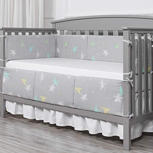 Gray Designthology Baby Breathable 100/% Cotton Muslin Crib Bumper Pads for Standard Cribs Machine Washable Padded Crib Liner 4-Pieces
