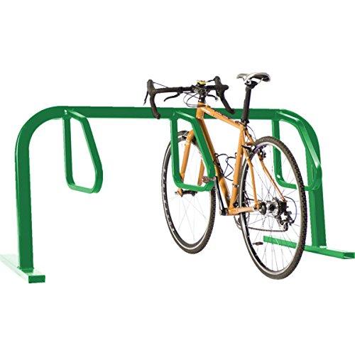 733601 Single-Sided Bicycle Rack, Flange Mount, Green, 3 Bike Capacity