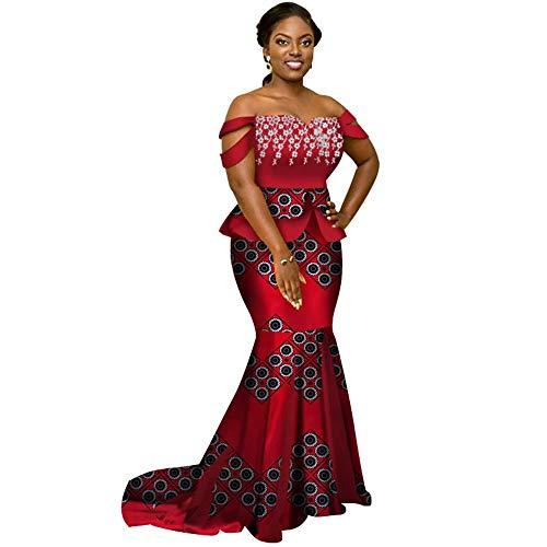 Womens Elegant 2 Piece African Mermaid Gown Off-Shoulder Ankara Tops & Skirt Set