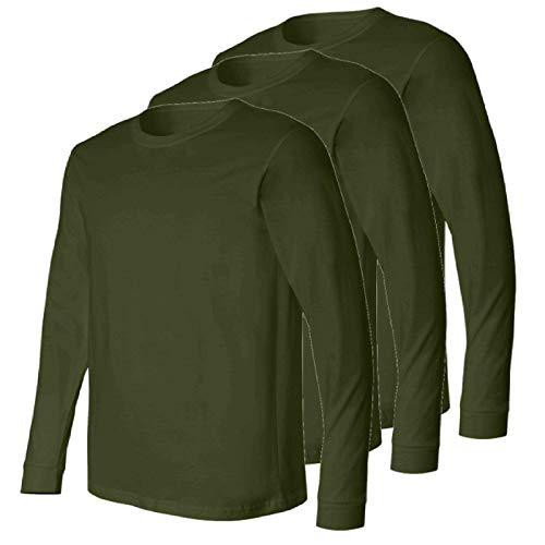 Military Style US Olive Drab Long Sleeve Men's T-Shirt, Elastic Cuff, 3 Pack,Made in The USA, Perfect for a Base Layer (Medium)