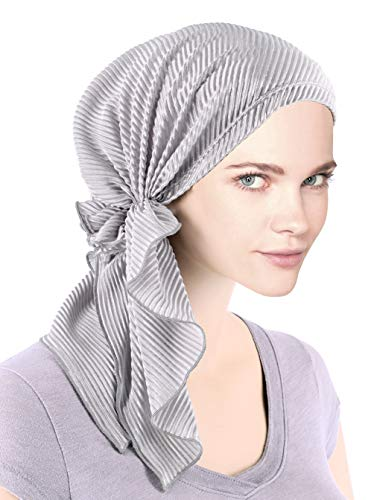 The Bella Scarf Chemo Turban Head Scarves Pre-Tied Bandana for Cancer Plisse Silver Gray