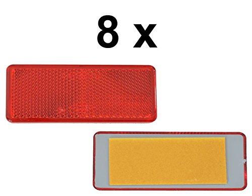 FKAnhä ngerteile 8 x Reflector –  Reflector –  pegar –  90 x 40 mm –  rojo –  Prueba de caracteres FKAnhängerteile