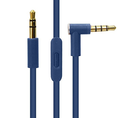 Price comparison product image Replacement Beats Audio 3.5mm AUX Replacement Headphone / Headset Audio Cable with In-Line Remote Microphone and Universal Volume Control for Apple Android and more (blue)