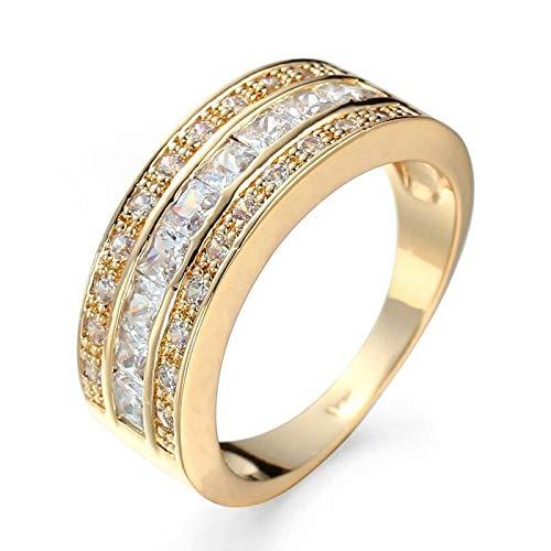 FidgetKute Princess Cut White Band Womens 14kt Yellow Gold Filled Wedding Ring Size 6-10 8 ()