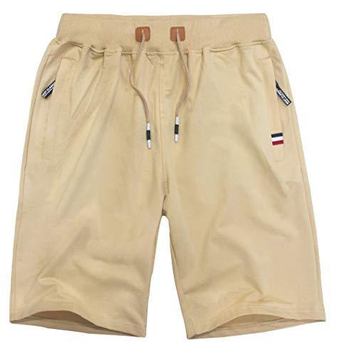 (MO GOOD Mens Casual Shorts Workout Fashion Comfy Shorts Summer Breathable Loose Shorts (Khaki, US (27-29)))
