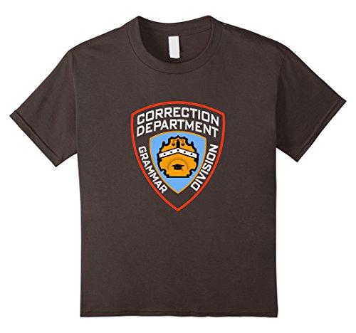 Kids Grammar Police Corrections Prisoner Inmate Costume Tee Shirt 8 Asphalt - Grammar Girl Costume