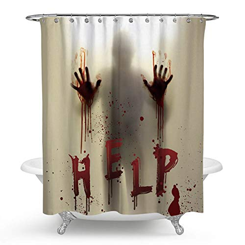 chengsan Halloween Decor Help Me People with Bloody Hands in Bath Room Mildew Polyester Fabric Bathroom Shower Curtain (71x71 inch, 8) (Help Me Shower Curtain)