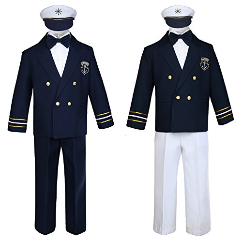 Unotux Baby Boy Kids Toddler Captain Sailor Suit Formal Party Nautical Navy White SM-12]()