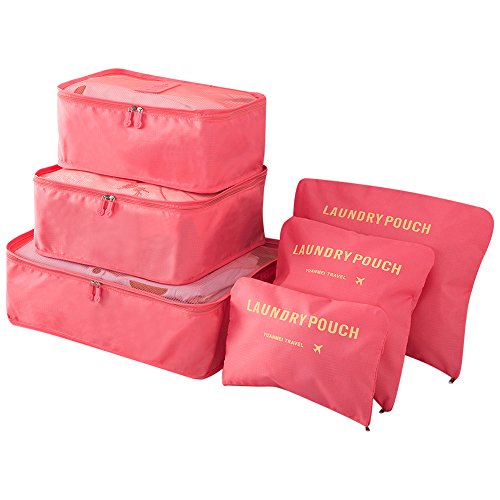Pack of 6 Waterproof Packing Pouch Cubes-Compression Travel Luggage Organizer-Clothe Storage Bag-Travel Pouch -Laundry Bag (Watermelon red)
