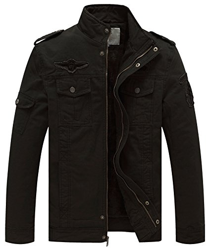 WenVen Men's Winter Military Style Air Force Jacket (Black,L)