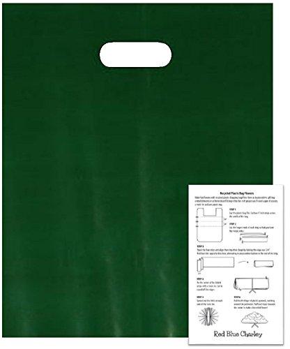 100 Dark Green 15x18x4 Die Cut Handle Bags 1.25 mil with 1 Craft - Charley Blue