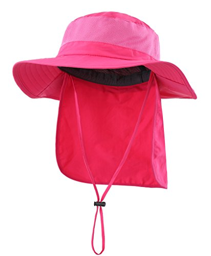 Home Prefer Womens UV Protective Sun Hat with Neck Flap Mesh Cool Bucket Fishing Hat Rose Red