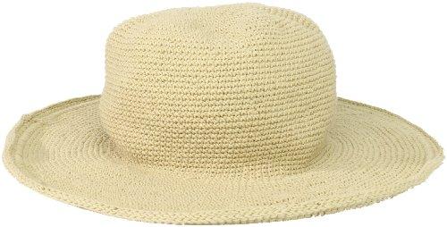 San Diego Hat Company Women's Cotton Crochet Floppy Hat with 3 Inch Brim, Tan, One Size Brim Crochet
