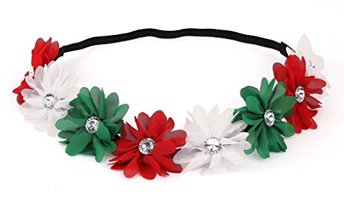 Lux Accessories Xmas Holiday Christmas Headband - White Green Red Floral Crown