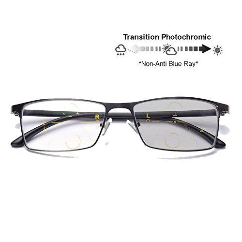 Progressive Transition Photochromic Computer Reading Glasses Flexible Temples UV400 No Line Gradual Sunglasses