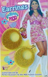 EARRINGS 60's 60s GOLD glitter MOD 70s 70's fancy dress by Bristol Novelties