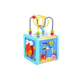 Pidoko Kids Sea Theme Activity Cube for Toddlers - Wooden Toy for 18 Months and up Boys and Girls