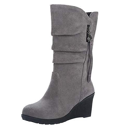 Limsea Womens Bottom Shoes Round Toe Casual Shoes Zipper Wedges Warm Shoes Flat 8 Grey -