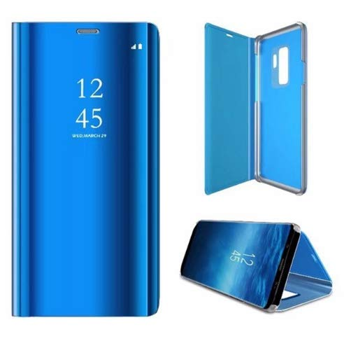 Luxury Clear Mirror Flip Cover Case for Samsung Galaxy s8 S8 Plus s6 S7 Edge Note 8 Smart View Stand Leather Phone Cases Fundas (Blue, for Note 8)
