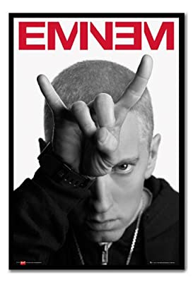 Eminem Horns Poster Magnetic Notice Board Black Framed - 96.5 x 66 cms (Approx 38 x 26 inches)