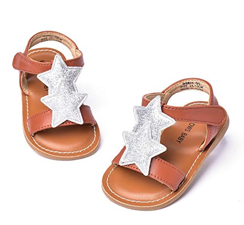 THEE BRON Girl's Toddler/Little Kid Classic Sandals Flat Shoes (8M - 6.3 inch - 16.1cm, Star -