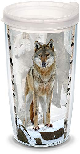 (Tervis 1177252 Wolf Design Insulated Tumbler with Wrap and Frosted Lid, 16oz, Clear)