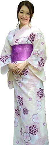 sakura Women Japanese Yukata obi belt set/ White sakura pattern