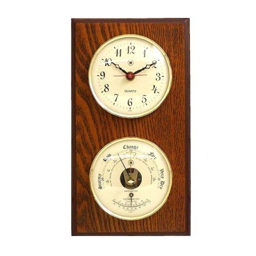 New Quartz Clock & Barometer With Thermometer On Oak Wood