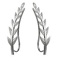 Freeman Jewels Ear Crawler Cuff Earrings Sterling Silver Ear Climber Studs Olive Leaf Hypoallergenic