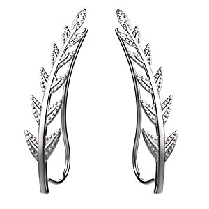 Freeman Jewels Ear Crawler Cuff Earrings Sterling Silver Ear Climber Studs Olive Leaf Hypoallergenic