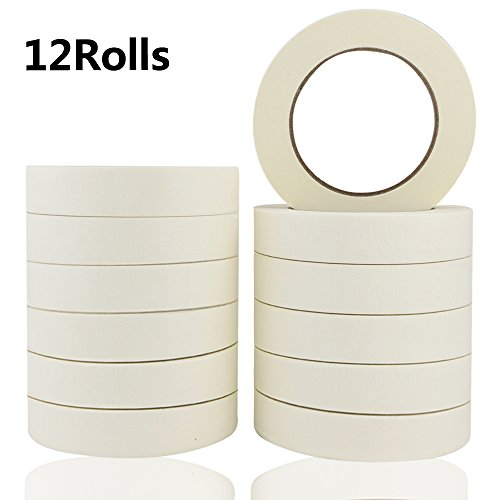 (JPSOR Masking Tape 12 Rolls for Multi Purposes, White, 0.98 Inch x 60.1 Yard(720 Total Yards), Easy Peel and Tear, for Painting, Home, Office)