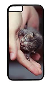 MOKSHOP Adorable cute little kitten Hard Case Protective Shell Cell Phone Cover For Apple Iphone 6 Plus (5.5 Inch) - PC Black