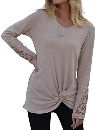SAMPEEL Women's Long Sleeve T Shirt Leopard Tunic Tops Sweatshirt