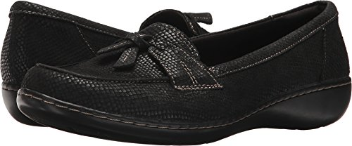 CLARKS Women's Ashland Bubble Loafer, Black Interest, 7 W US ()