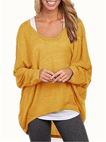 YOGLY Camisetas Muje Mujeres Blusa Camisa Manga Larga Cuello Redondo Otoño Camiseta Top Camisa de Mujer Tallas Grandes Camiseta Irregular Sueltas de Punto amarillo