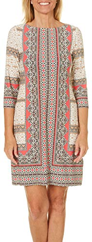 London Times Womens Abstract Geometric Shift Dress 4 Coral Pink Multi - Abstract Shift Dress